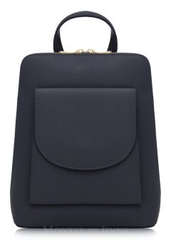 Italian Leather Backpack - Navy