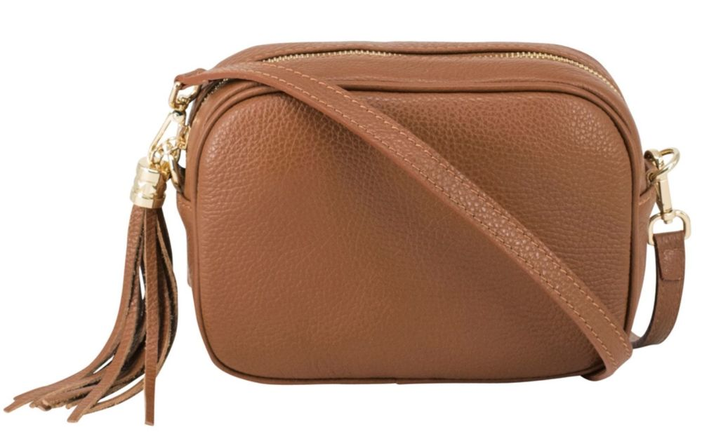 Italian Leather Cross Body Box Bag with Tassel - Tan