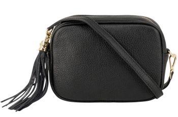 Italian Leather Cross Body Box Bag with Tassel - Black