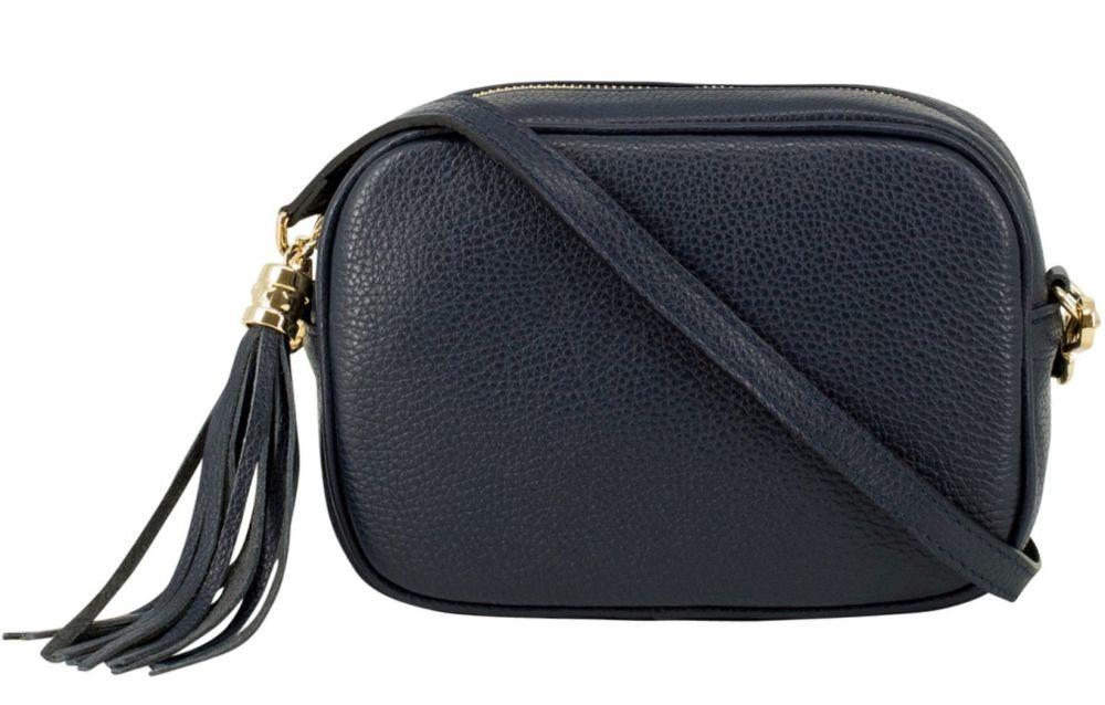 Italian Leather Cross Body Box Bag with Tassel - Navy