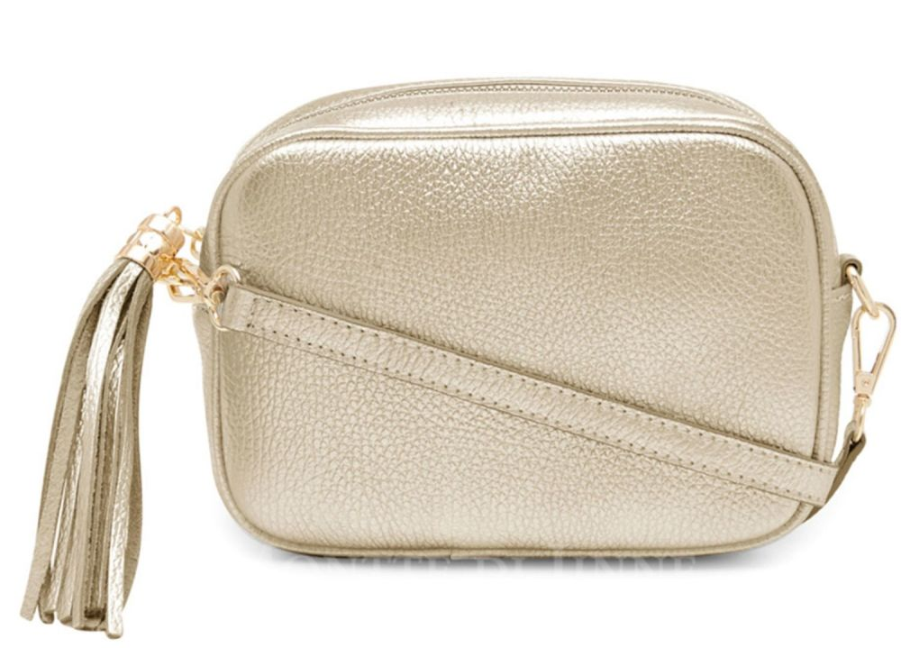 Italian Leather Cross Body Box Bag with Tassel - Gold