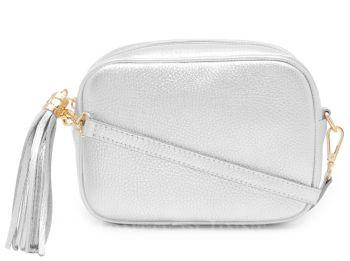 Italian Leather Cross Body Box Bag with Tassel - Silver