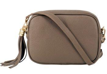 Italian Leather Cross Body Box Bag with Tassel - Taupe