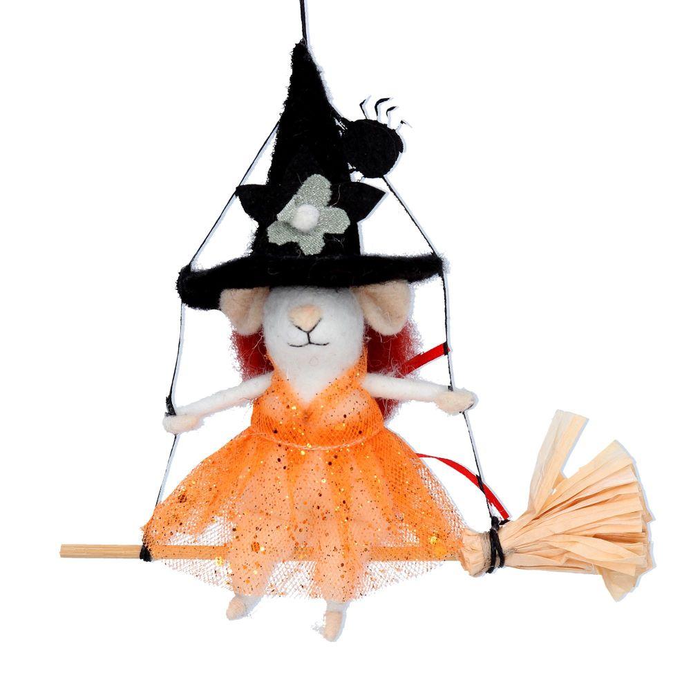 Gisela Graham Felt Mouse on a Broomstick Decoration