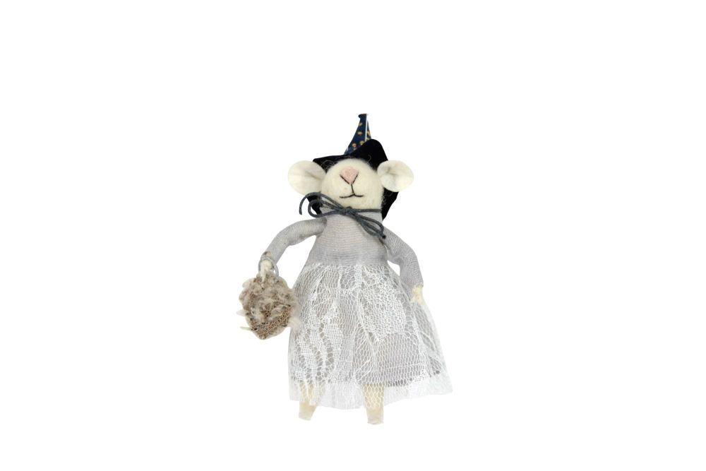Gisela Graham Woollen Witch Mouse Decoration