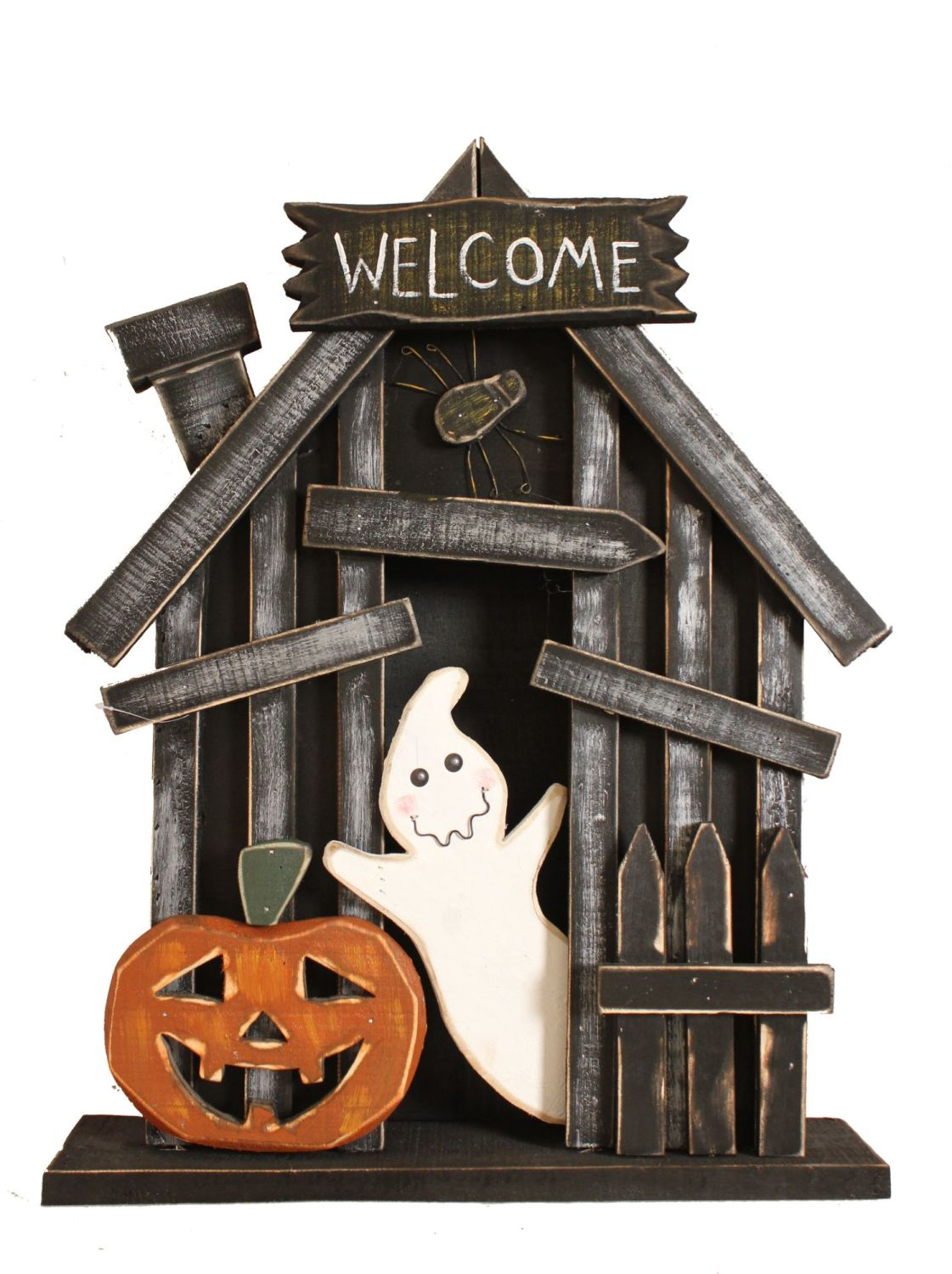 Wooden Spooky House Ornament