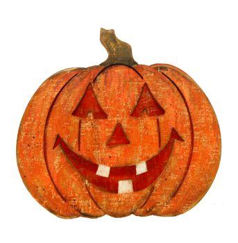 Wooden LED Pumpkin Ornament