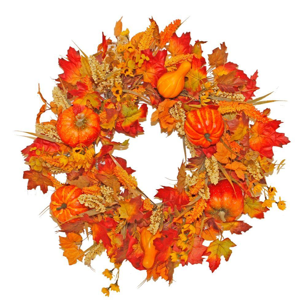 Harvest Fields and Pumpkin Wreath