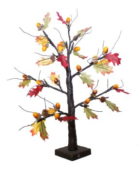 Autumnal Leaf and Acorn LED Twig Tree