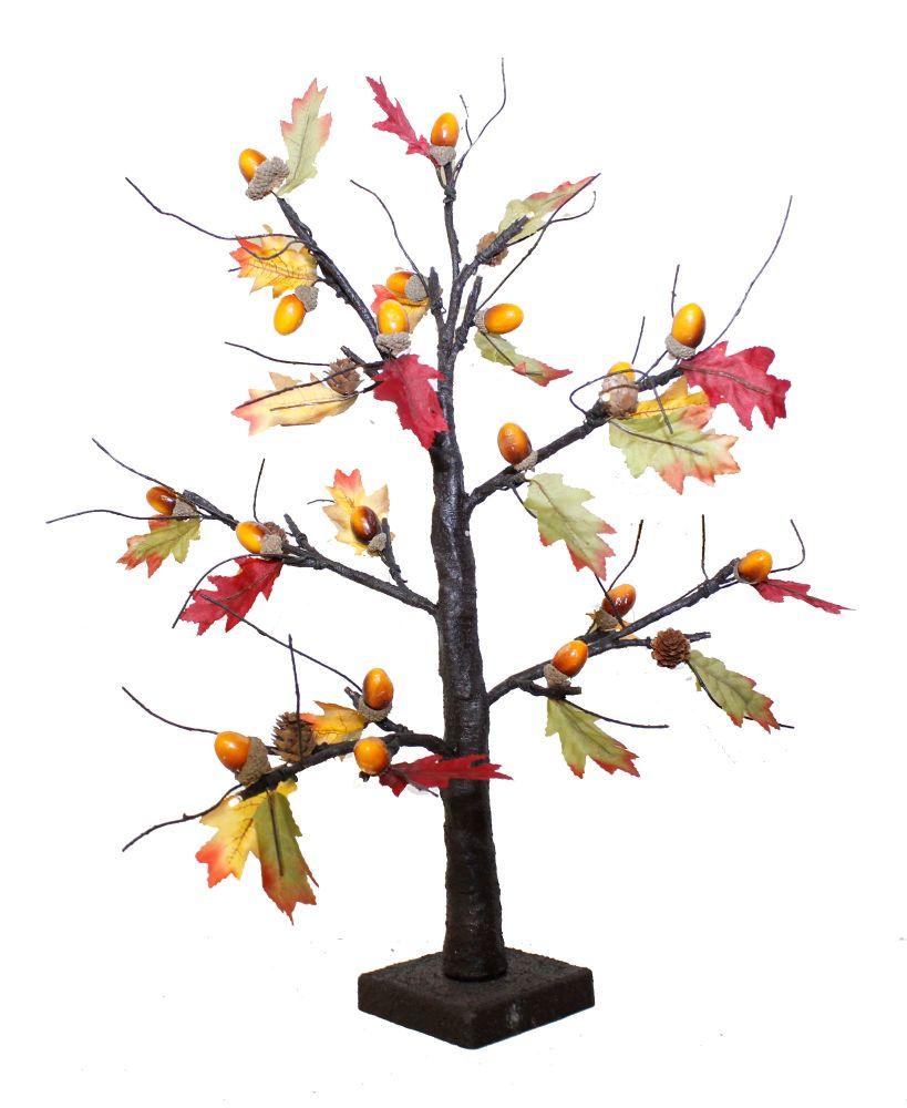 Autumnal Leaf and Acorn LED Twig Tree
