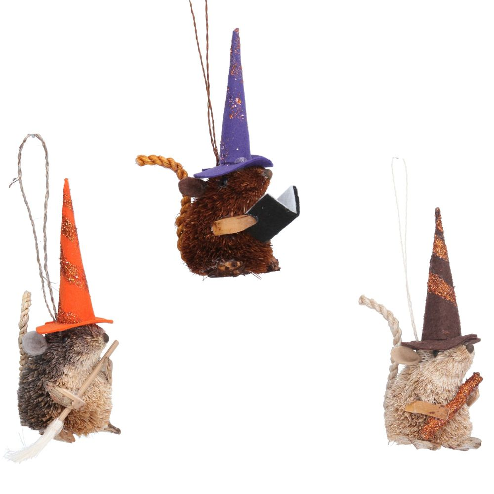 Gisela Graham Bristle Mice Witch - 3 Assorted