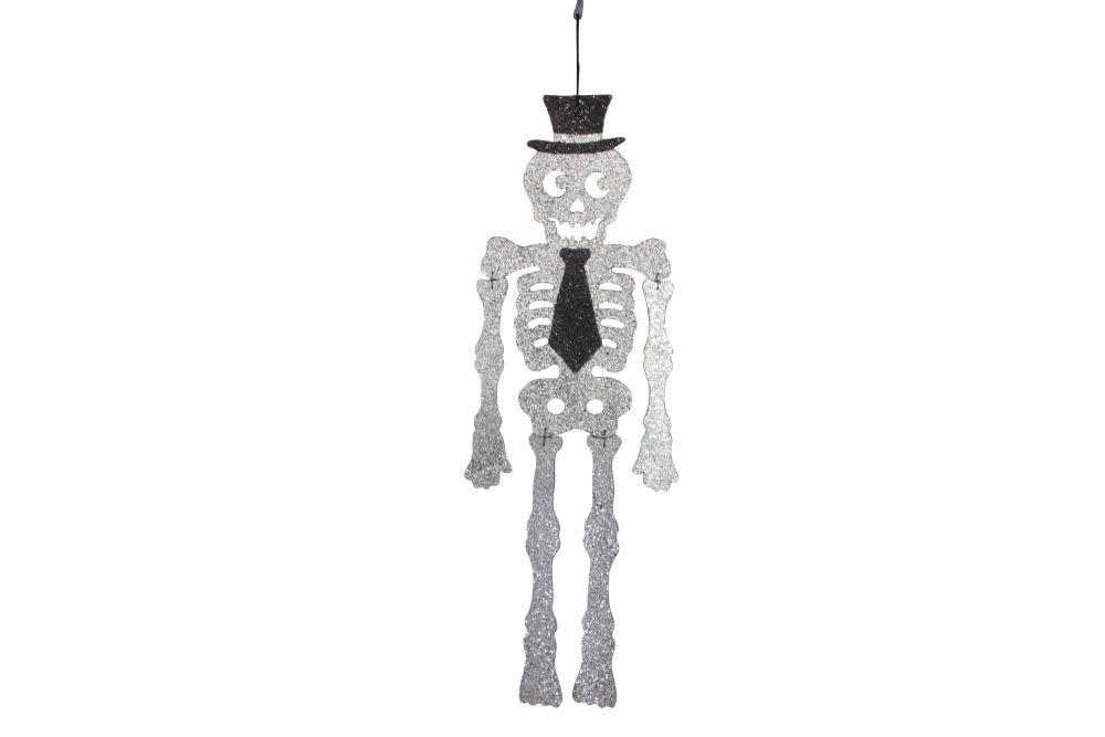Gisela Graham Glittered Skeleton with Top Hat