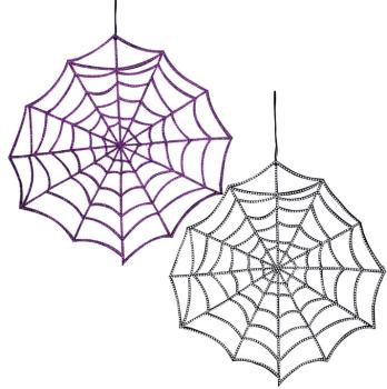 Gisela Graham Large Fabric Diamante Spider Web  -2 Assorted