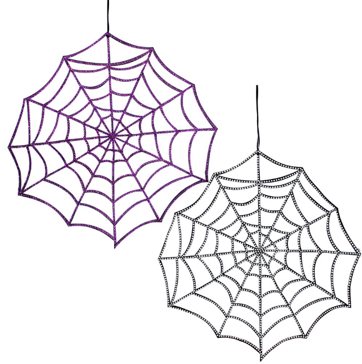 Gisela Graham Large Fabric Diamante Spider Web  -2 Assorted