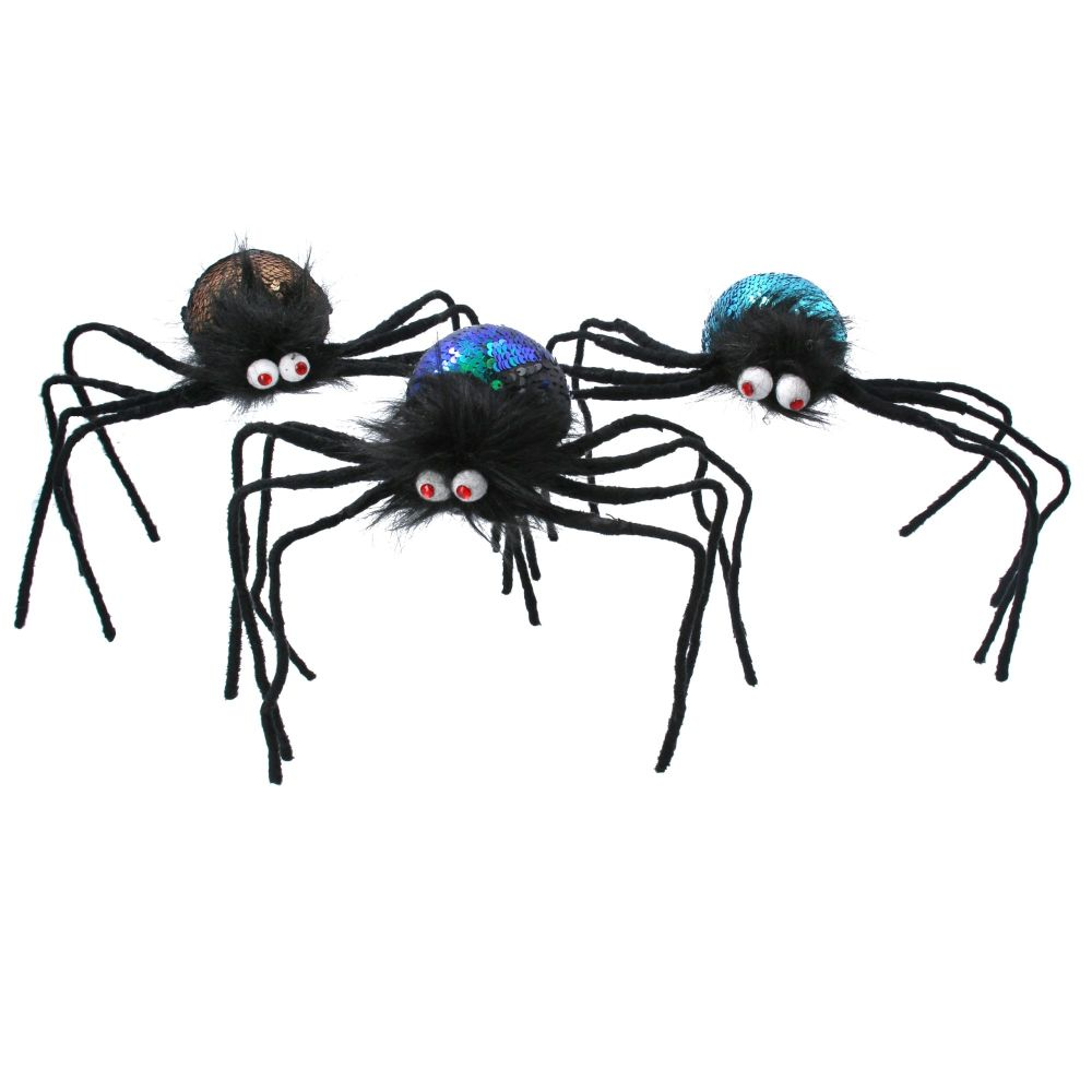 Gisela Graham Sequin Spider Ornament - 3 Assorted