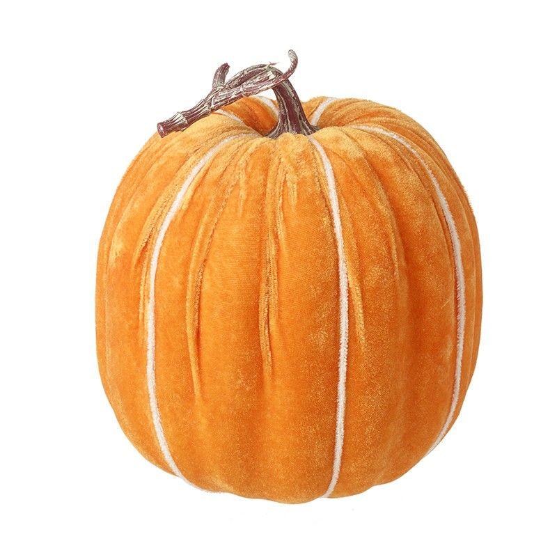 Large Velvet Pumpkin Ornament - Light Orange