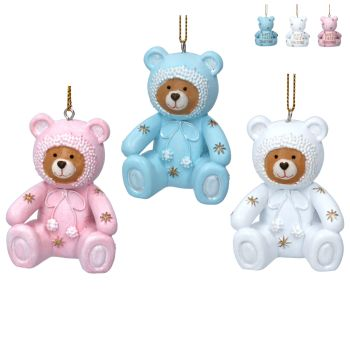 Gisela Graham Baby's First Christmas Teddy Decoration - 3 Assorted