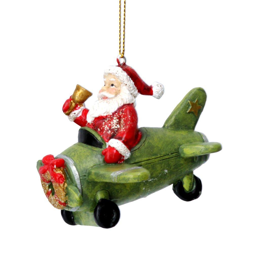 Gisela Graham Resin Santa Plane Decoration