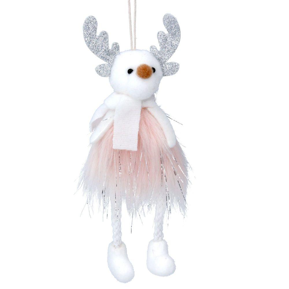 Gisela Graham Pink and White Reindeer Decoration