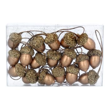 Gisela Graham Wooden Acorns Decorations - Box of 18