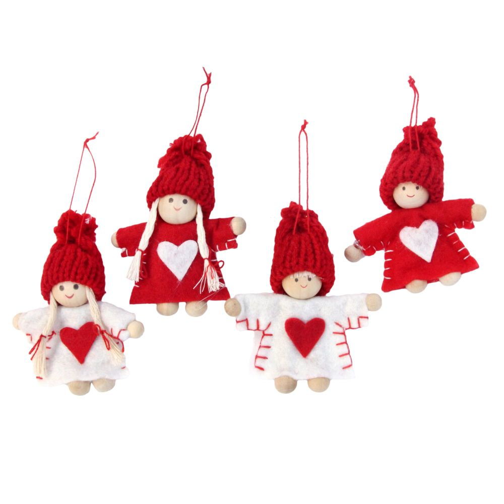 Gisela Graham Mini Red and White Felt Characters Decorations