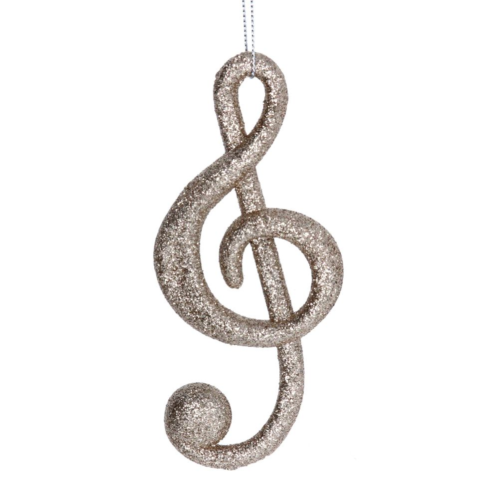 Gold Glitter Musical Note Decoration