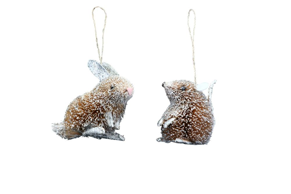 Gisela Graham Silver Bristle Mice and Rabbit Decorations