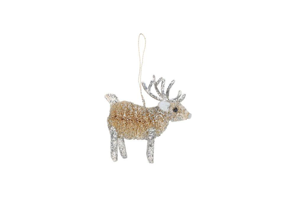 Gisela Graham Silver Bristle Reindeer Decoration
