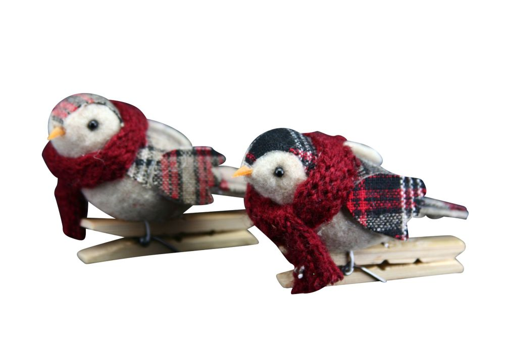 Gisela Graham Tartan Fabric Bird on Peg - 2 Assorted