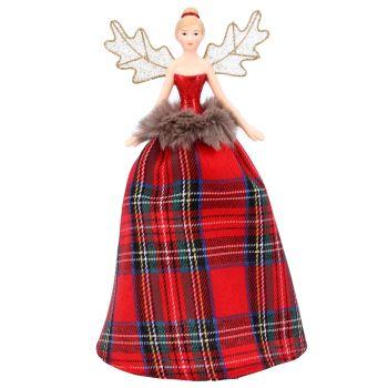 Gisela Graham Traditional Tartan Resin Tree Top Fairy