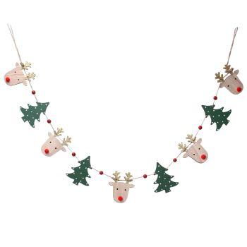 Gisela Graham Wooden Reindeer Head and Tree Garland