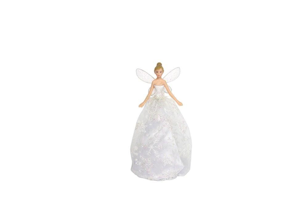 Gisela Graham Iridescent Silver Tree Top Fairy