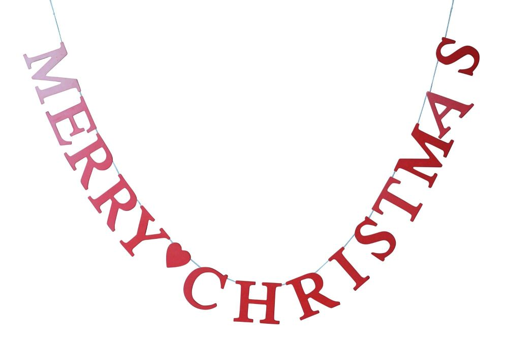 Gisela Graham Red Wooden 'Merry Christmas' Garland