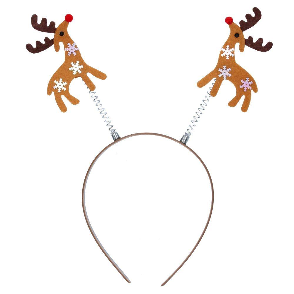 Gisela Graham Fabric Wobble Reindeers Headband
