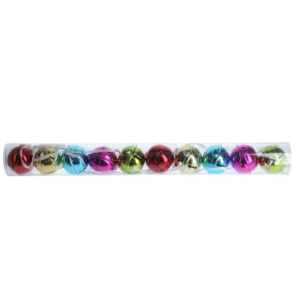 Gisela Graham Multicolour Metal Jingle Bells - Tube of 10