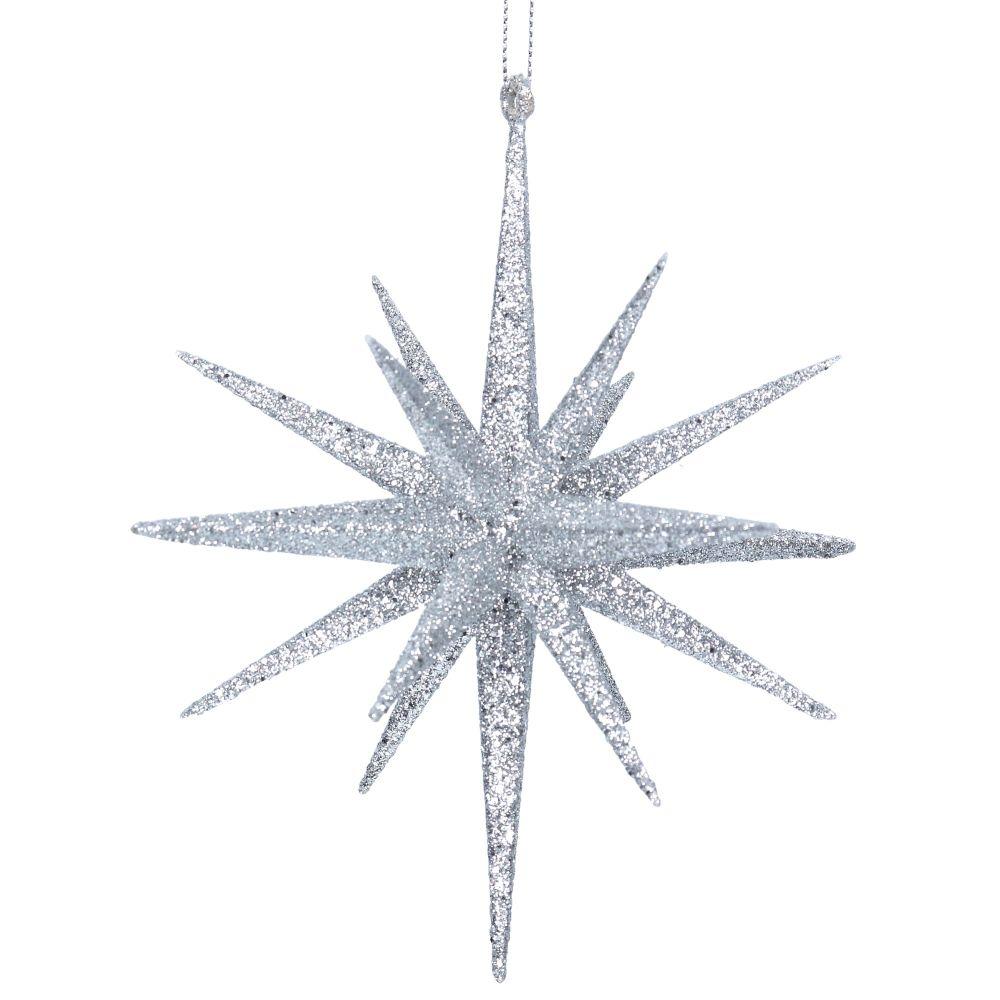 Gisela Graham Large Silver Glitter Bethlehem Star