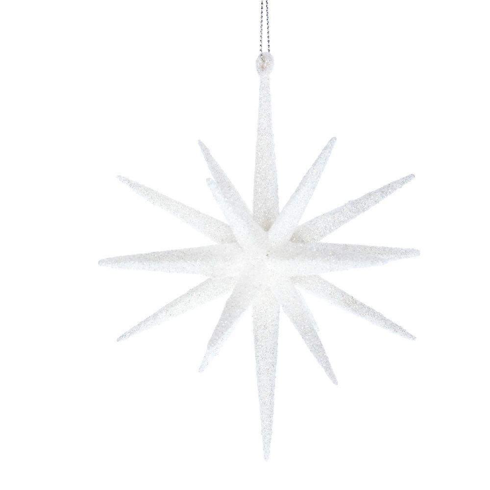 Gisela Graham Large Glitter Bethlehem Star - White