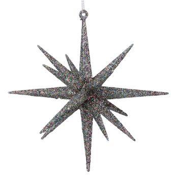 Gisela Graham Large Glitter Bethlehem Star - Peacock Glitter