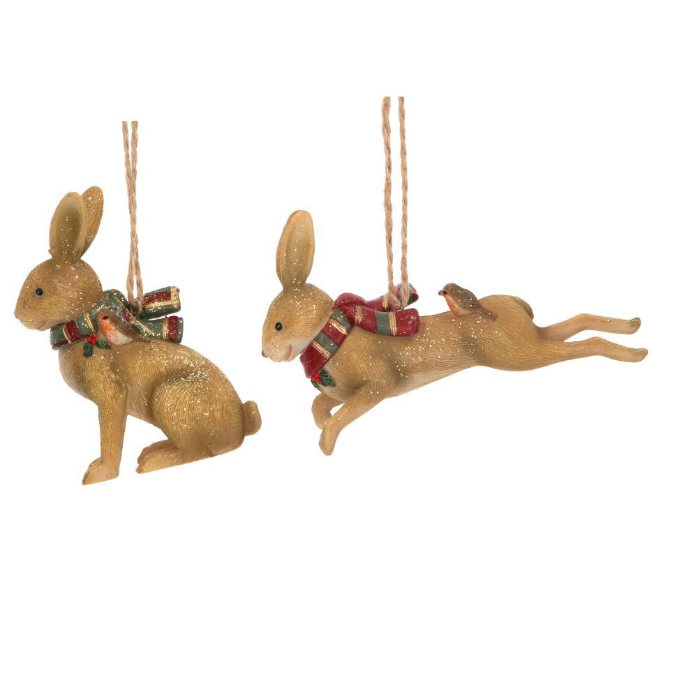 Gisela Graham Resin Woodland Hares - Set of 2