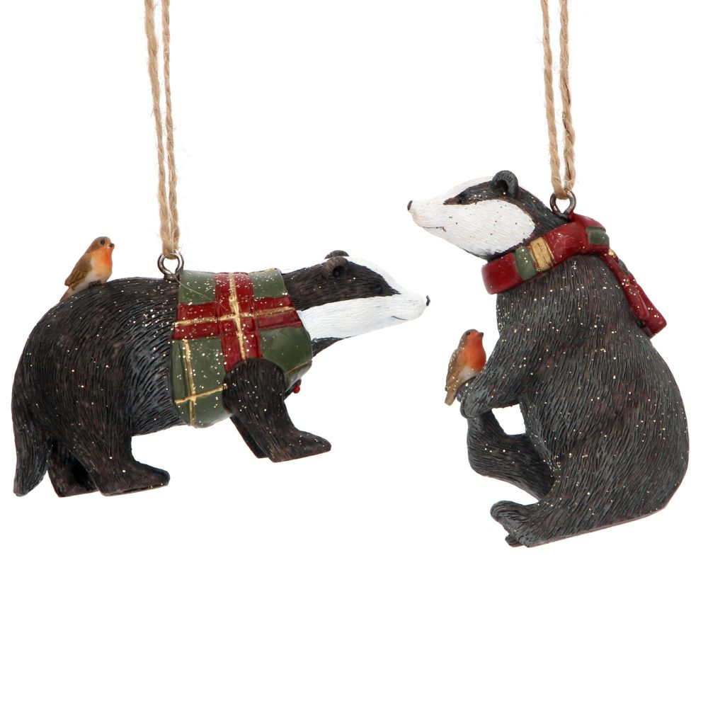 Gisela Graham Resin Woodland Badgers - Set of 2