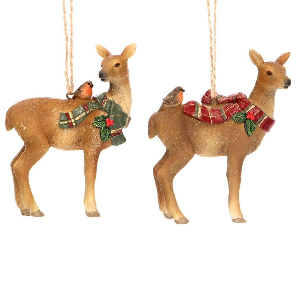 Gisela Graham Resin Woodland Deer - Set of 2