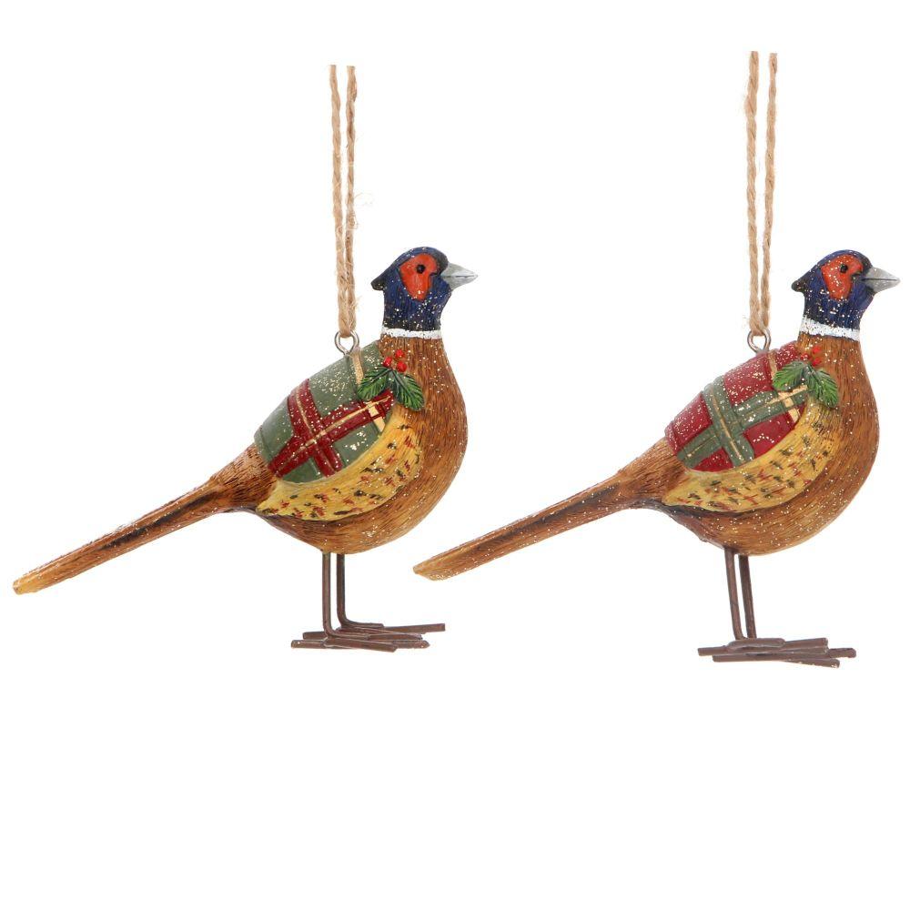 Gisela Graham Resin Woodland Peacock - Set of 2