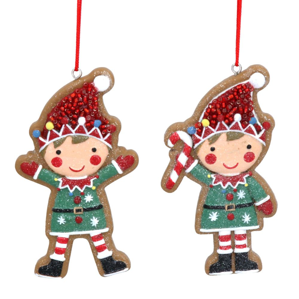 Gisela Graham Resin Gingerbread Elf Decorations -  Set of 2