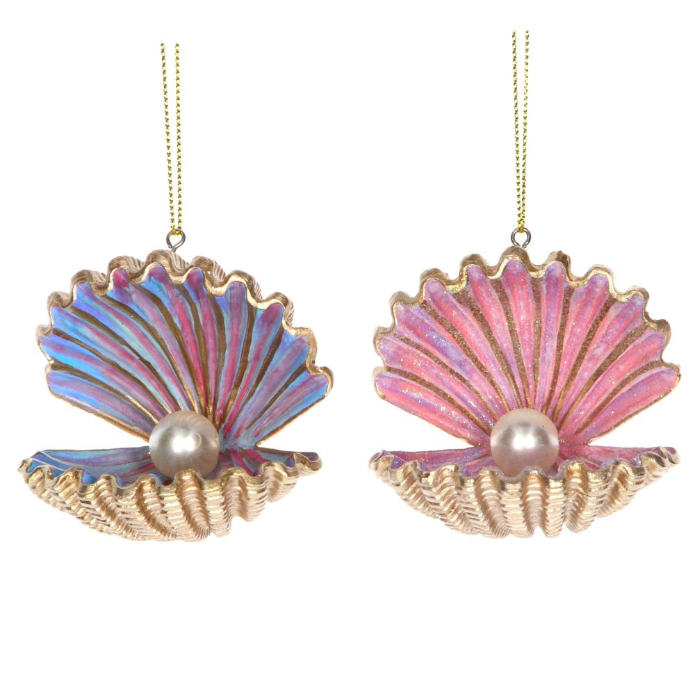 Gisela Graham Pastel and Gold Oyster Decoration - 2 Assorted