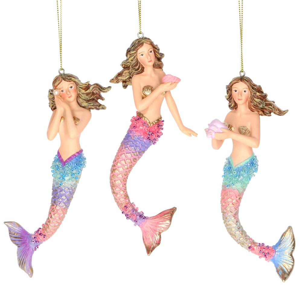 Gisela Graham Resin Pastel Mermaid Decoration - 3 Assorted
