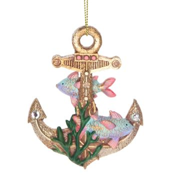 Gisela Graham Pastel and Gold Anchor Decoration