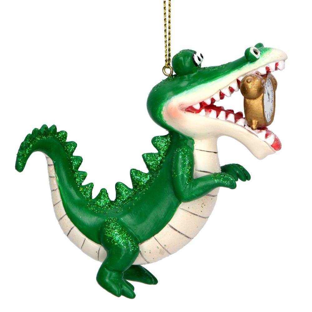 Gisela Graham Crocodile with Clock Decoration