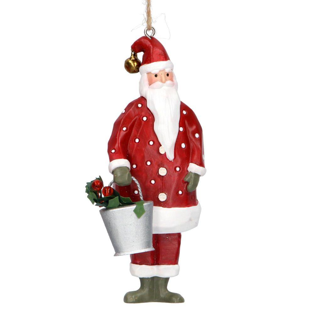 Gisela Graham Santa with Bucket Decoration