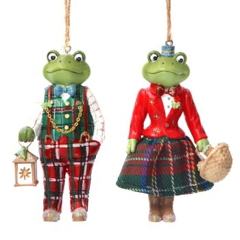 Gisela Graham Mr and Mrs Frog Decorations - 2 Assorted