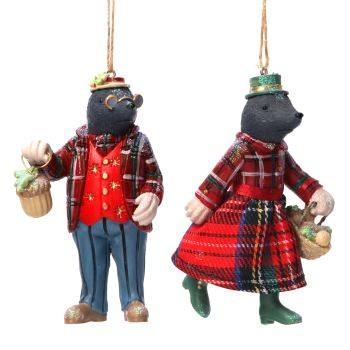 Gisela Graham Mr and Mrs Mole Decorations - 2 Assorted